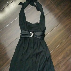 Knee length black cocktail dress